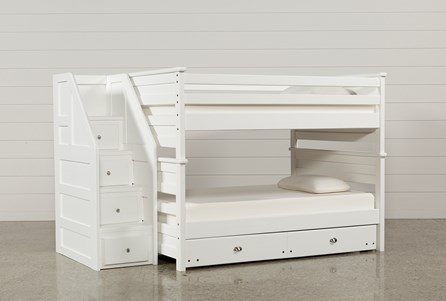 Summit White Full Over Full Bunk With Trundle/Mattress & Stairway