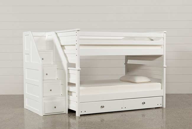 Summit White Full Over Full Bunk With Trundle/Mattress & Stairway - 360