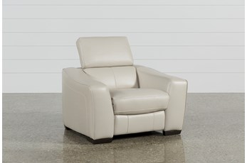 Kristen Silver Grey Leather Power Recliner With USB
