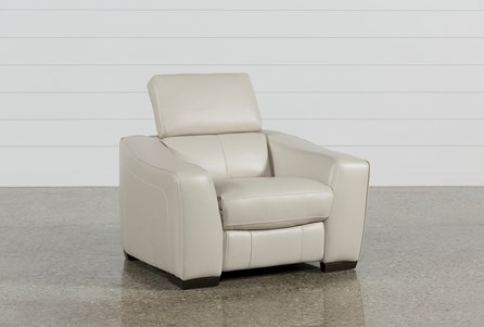 Kristen Silver Grey Leather Power Recliner W/Usb