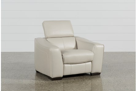 Kristen Silver Grey Leather Power Recliner W/Usb - Main