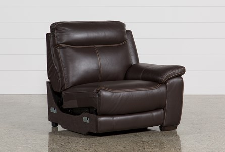 Courtney Walnut Leather Right Facing Power Recliner W/Usb