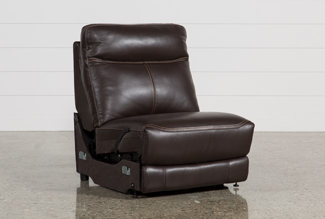 Courtney Walnut Leather Armless Recliner - 360
