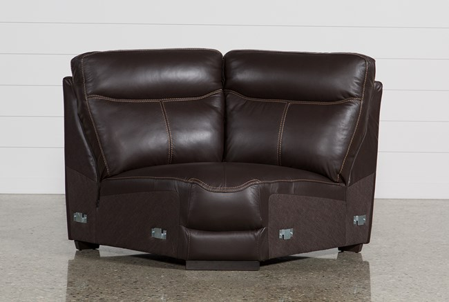Courtney Walnut Leather Corner Unit - 360