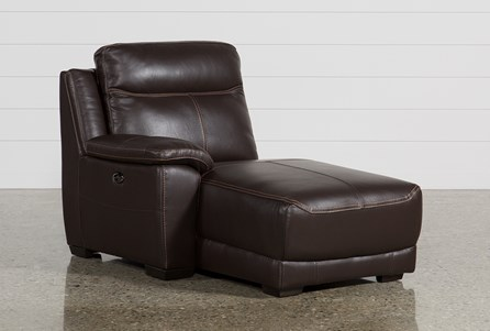 Courtney Walnut Leather Left Facing Power Chaise W/Usb