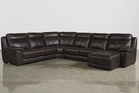 Courtney Walnut 6 Piece Power Reclining Sectional W/Raf