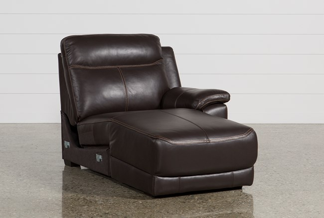 Courtney Walnut Leather Right Facing Power Chaise W/Usb - 360