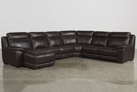 Courtney Walnut 6 Piece Power Reclining Sectional W/Laf