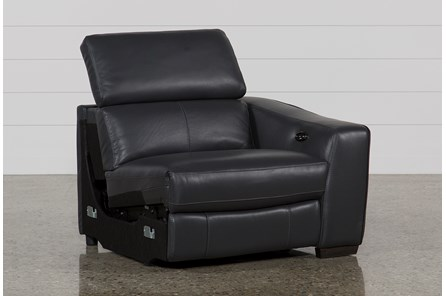 Kristen Slate Grey Leather Right Facing Power Recliner W/Usb