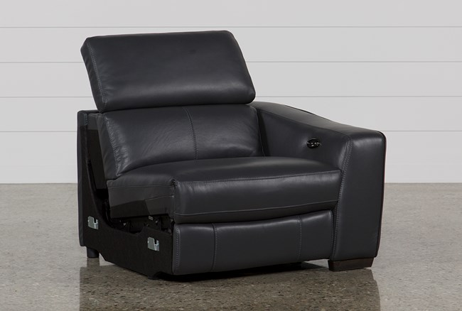 Kristen Slate Grey Leather Right Facing Power Recliner W/Usb - 360