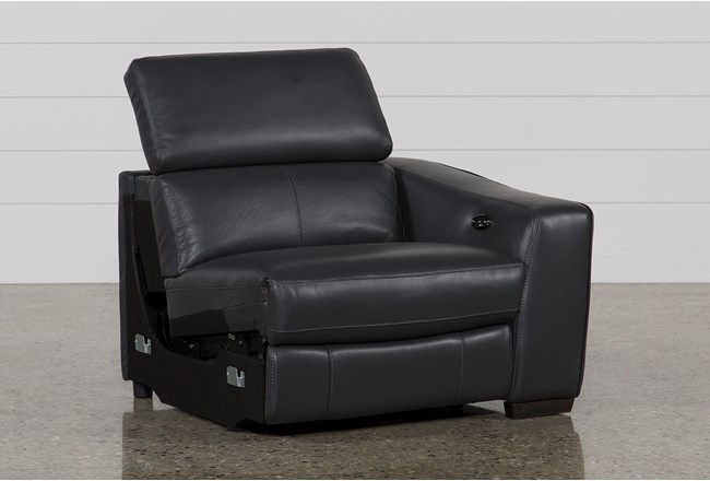 Kristen Slate Grey Leather Right Facing Power Recliner With USB - 360