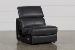 Kristen Slate Grey Leather Armless Recliner