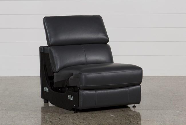 Kristen Slate Grey Leather Armless Recliner - 360