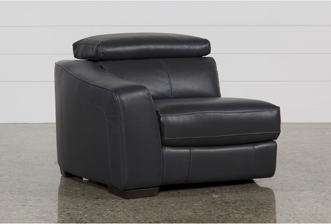 Kristen Slate Grey Leather Left Arm Facing Power Recliner With USB - 360