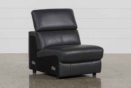 Kristen Slate Grey Leather Armless Chair