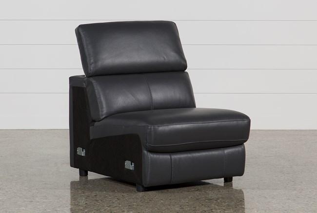 Kristen Slate Grey Leather Armless Chair - 360