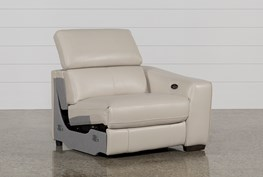 Kristen Silver Grey Leather Right Facing Power Recliner W/Usb