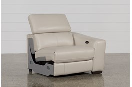 Kristen Silver Grey Leather Right Arm Facing Power Recliner With USB