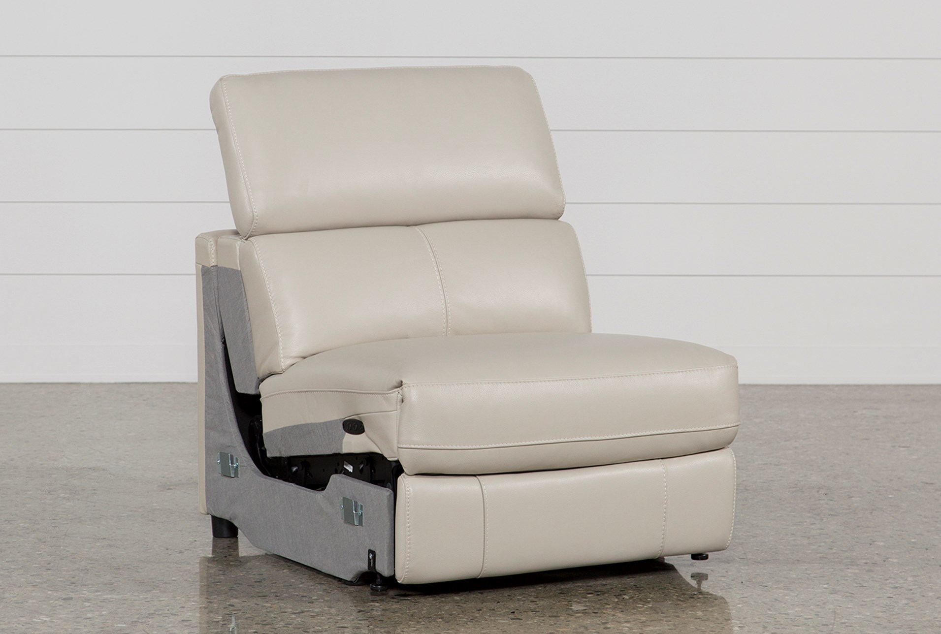 Kristen Silver Grey Leather Armless Power Recliner Living Spaces