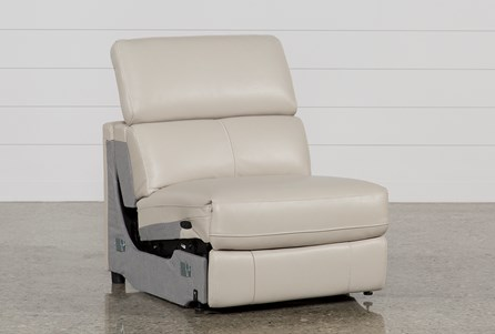 Kristen Silver Grey Leather Armless Power Recliner