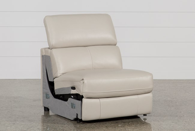 Kristen Silver Grey Leather Armless Power Recliner - 360