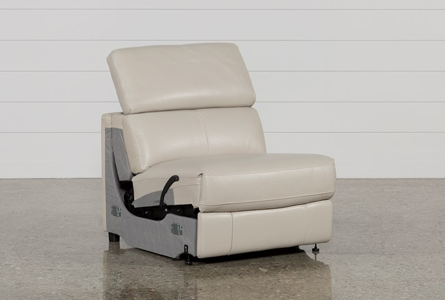 Kristen Silver Grey Leather Armless Recliner - 360