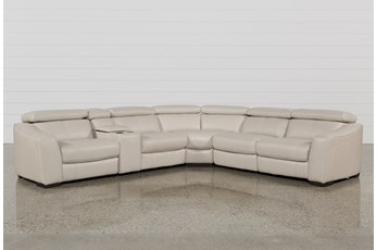"Kristen Silver Grey 6 Piece 131"" Power Reclining Sectional"