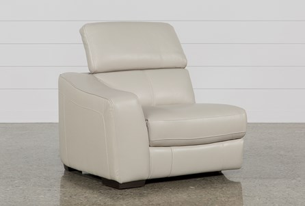 Kristen Silver Grey Leather Left Facing Power Recliner W/Usb