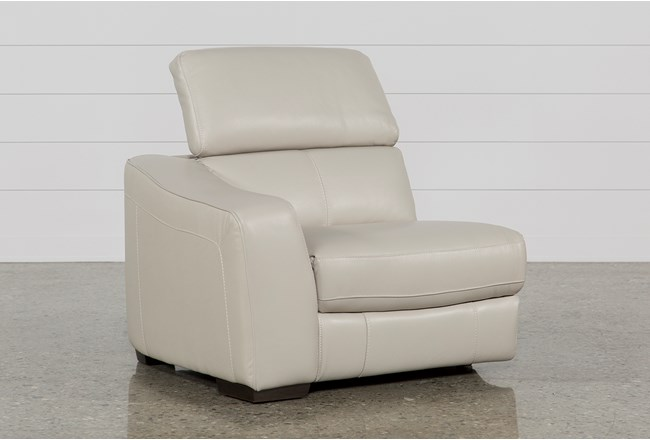 Kristen Silver Grey Leather Left Arm Facing Power Recliner With USB - 360