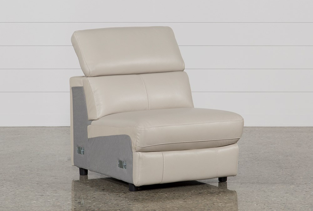Kristen Silver Grey Leather Armless Chair