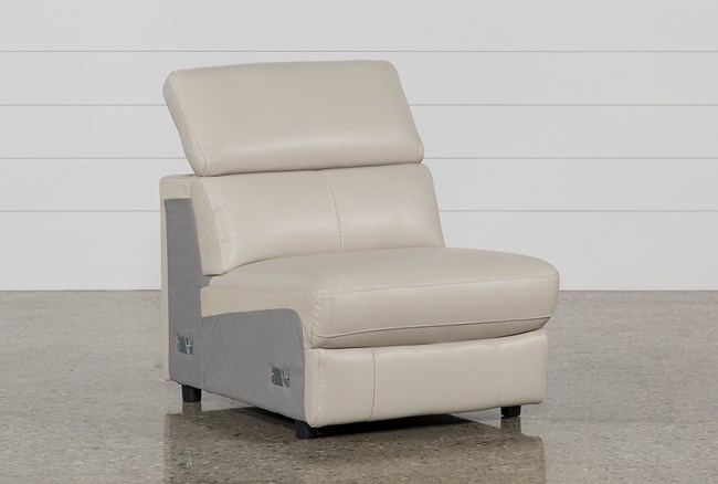 Kristen Silver Grey Leather Armless Chair - 360