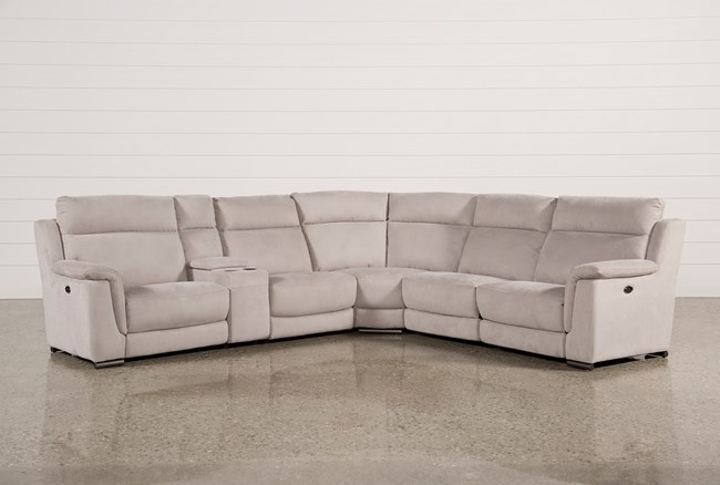 Kerwin Silver Grey 6 Piece Power Reclining Sectional - 360