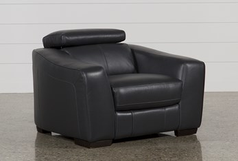 Kristen Slate Grey Leather Power Recliner With USB