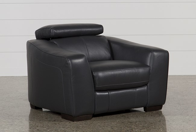 Kristen Slate Grey Leather Power Recliner With USB - 360