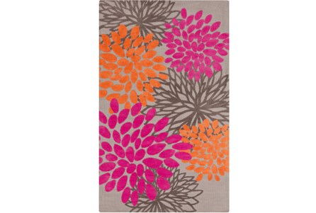 60X96 Rug-Pink And Orange Blooms