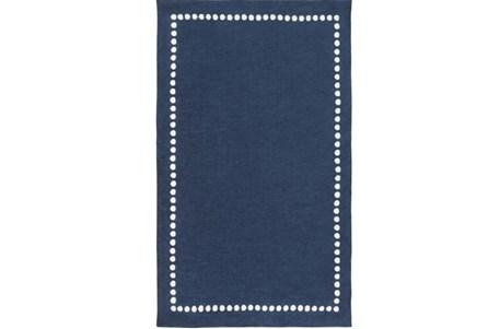 60X96 Rug-Blue Dot Border
