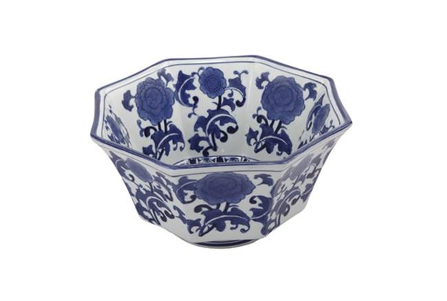 Blue & White Floral Bowl - 360