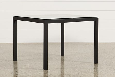 Ina Matte Black 40 Inch Square Dining Table W/Clear Glass