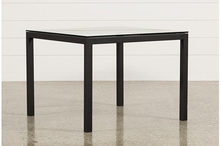 Ina Matte Black 40 Inch Square Dining Table W/Clear Glass - Main