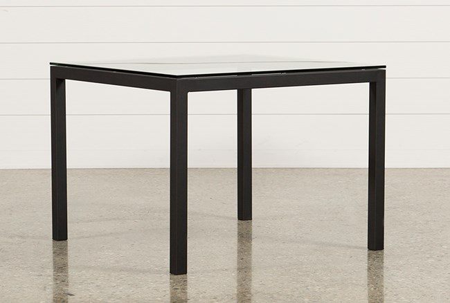 ina matte black 40 inch square dining table w/clear glass | living 40 Inch Dining Table