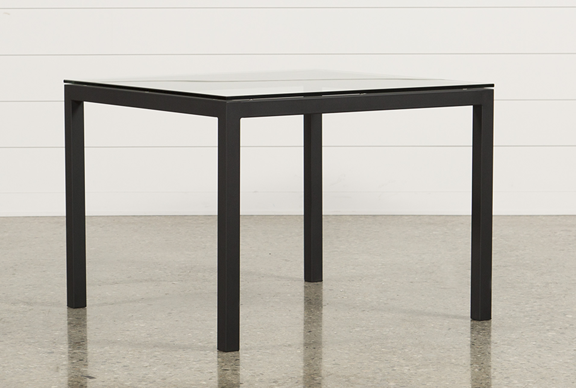 Charmant Ina Matte Black 40 Inch Square Dining Table W/Clear Glass   360