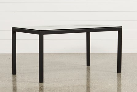 Ina Matte Black 60 Inch Dining Table W/Clear Glass