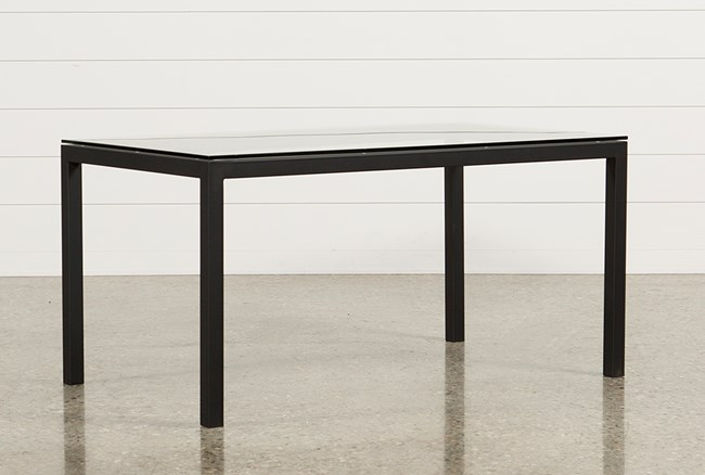 Ina Matte Black 60 Inch Dining Table W/Clear Glass - 360