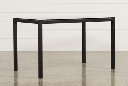 Ina Matte Black 60 Inch Counter Table W/Clear Glass
