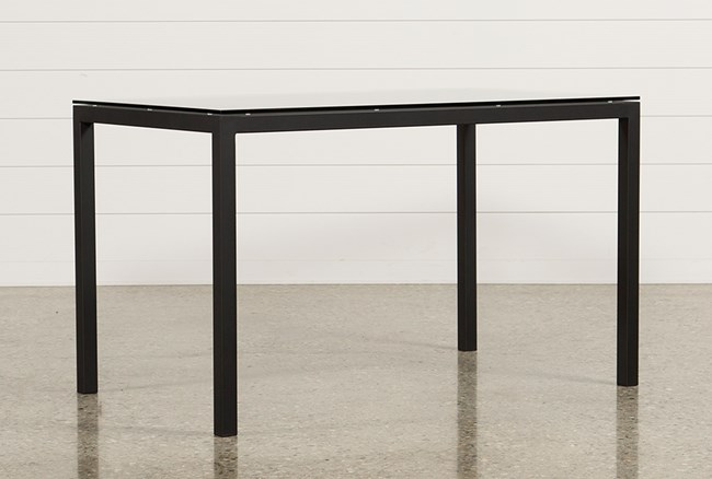 Ina Matte Black 60 Inch Counter Table W/Clear Glass - 360