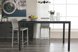 Ina Matte Black 60 Inch Counter Table W/Clear Glass - Room