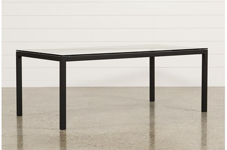 Ina Matte Black 78 Inch Dining Table W/Clear Glass - Main