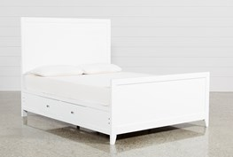 Bayside White Eastern King Panel Bed W/Storage
