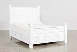 Bayside White California King Poster Bed W/Storage