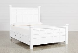 Bayside White Queen Poster Bed W/Storage